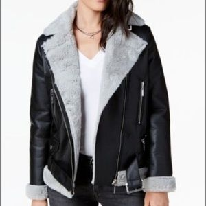 Jou Jou Faux-Fur-Lined Moto Jacket